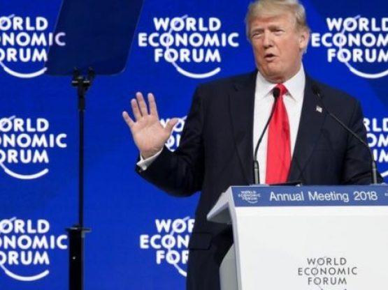 The US president Donald Trump addresses the World Economic...