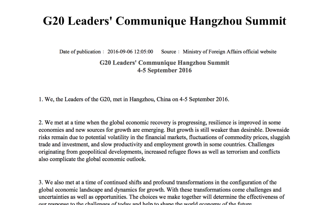 The full China G20 Communique on the Hangzhou Summit